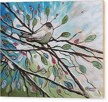 Sage Glimmering Songbird  Wood Print by Elizabeth Robinette Tyndall