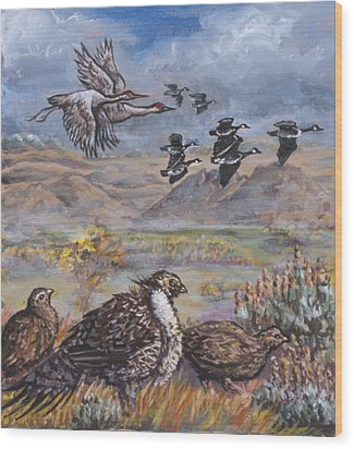 Sage Grouse Watch The Migration Wood Print by Dawn Senior-Trask