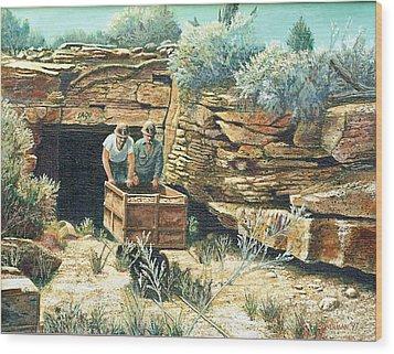 Sage Mine Wood Print by Lee Bowerman