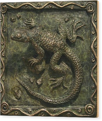 Wood Print featuring the sculpture Sagebrush Lizard by Dawn Senior-Trask