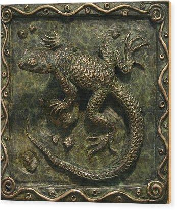 Sagebrush Lizard Wood Print by Dawn Senior-Trask