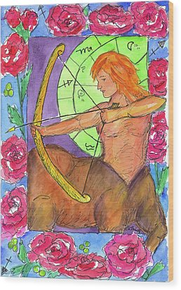 Wood Print featuring the painting Sagittarius by Cathie Richardson