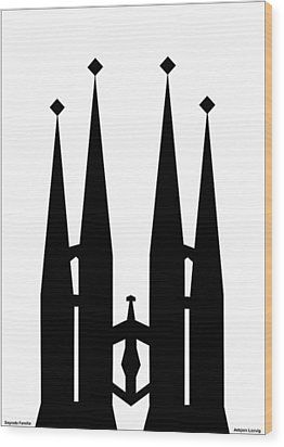 Sagrada Familia Wood Print by Asbjorn Lonvig