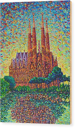 Sagrada Familia Barcelona Modern Impressionist Palette Knife Oil Painting By Ana Maria Edulescu Wood Print by Ana Maria Edulescu