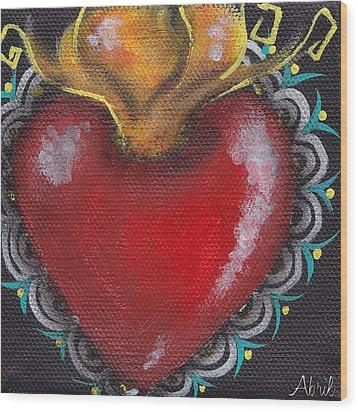 Sagrado Corazon 1 Wood Print by  Abril Andrade Griffith