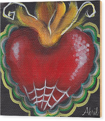 Sagrado Corazon 2 Wood Print by  Abril Andrade Griffith