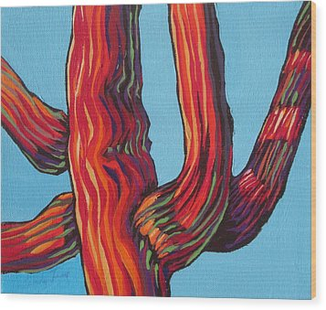 Saguaro 2 Wood Print by Sandy Tracey