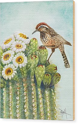 Wood Print featuring the painting Saguaro And Cactus Wren by Marilyn Smith