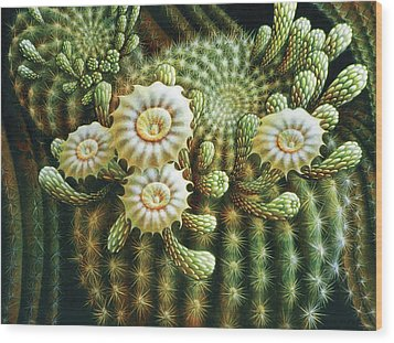 Saguaro Cactus Blossoms Wood Print by James Larkin