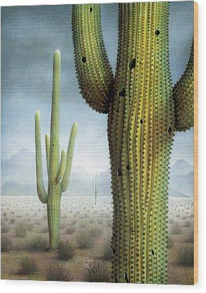Saguaro Cactus Landscape Wood Print by James Larkin
