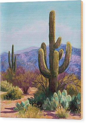 Saguaro Wood Print by Candy Mayer