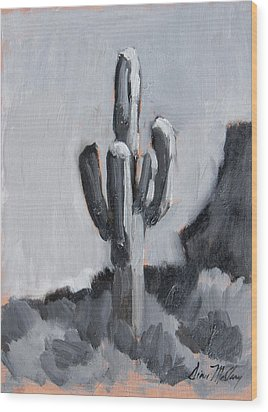 Wood Print featuring the painting Saguaro Plein Air Study by Diane McClary