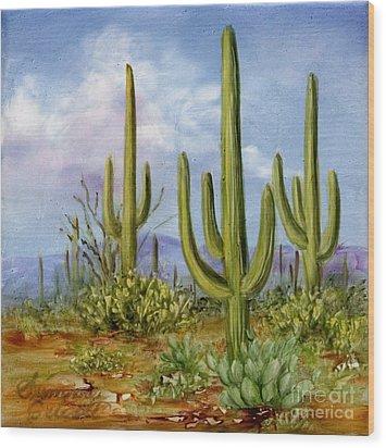 Saguaro Scene 1 Wood Print by Summer Celeste