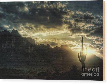 Saguaro Sunrise  Wood Print by Saija  Lehtonen