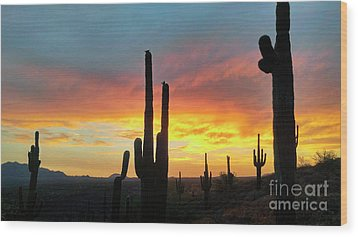 Wood Print featuring the photograph Saguaro Sunset by Anthony Citro