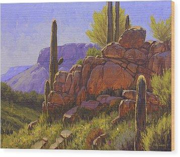 Saguaro Sunshine Wood Print by Cody DeLong