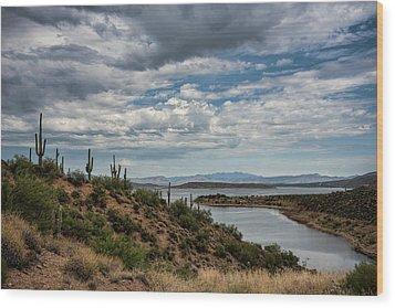 Wood Print featuring the photograph Saguaro With A Lake View  by Saija Lehtonen