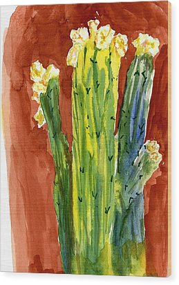 Saguaros And Their Hats Wood Print by Marilyn Barton