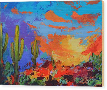 Saguaros Land Sunset Wood Print