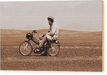 Wood Print featuring the photograph Sahara Biker by Ramona Johnston