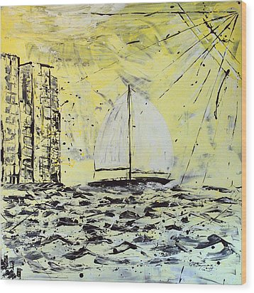 Sail And Sunrays Wood Print by J R Seymour