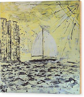 Sail And Sunrays Wood Print by J R Seymour