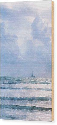 Sail At Sea Wood Print by Francesa Miller