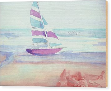 Wood Print featuring the painting Sail Away by Denise Fulmer