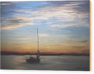 Wood Print featuring the painting Sail Away by Wayne Pascall