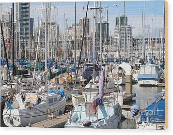 Sail Boats At San Francisco China Basin Pier 42 With The San Francisco Skyline . 7d7675 Wood Print by Wingsdomain Art and Photography