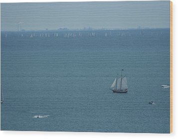 Sail On Michigan Wood Print by Gregory Jeffries