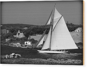 sailboat - a one mast classical vessel sailing in one of the most beautiful harbours Port Mahon Wood Print