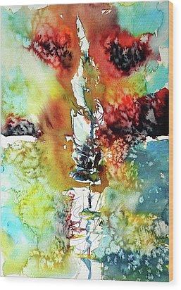 Sailboat After Storm Wood Print by Kovacs Anna Brigitta