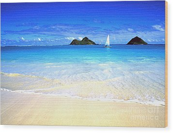 Sailboat And Islands Wood Print