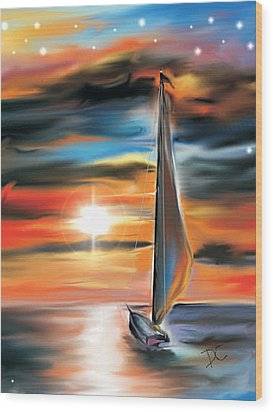 Sailboat And Sunset Wood Print