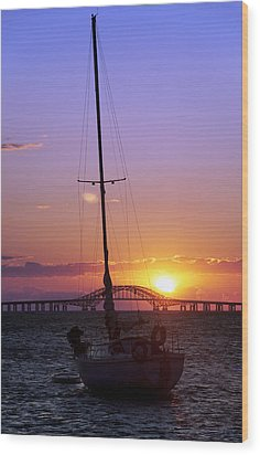 Sailboat And The Bridge At Sunrise Wood Print by Vicki Jauron