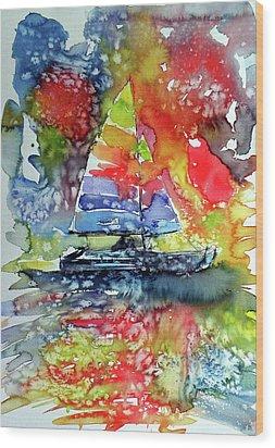 Sailboat At Sunset II Wood Print by Kovacs Anna Brigitta