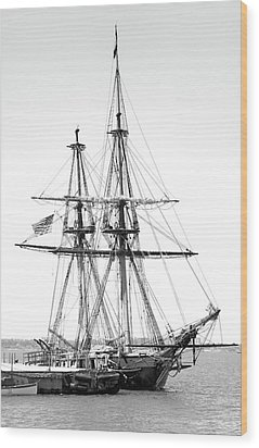 Sailboat Docked In Cleveland Harbor Wood Print