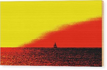 Sailboat Horizon Poster Wood Print