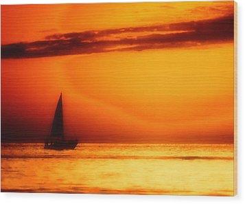 Sailboat In Orange Wood Print by Lyle  Huisken