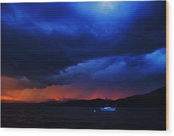 Wood Print featuring the photograph Sailboat In Thunderstorm by Sean Sarsfield