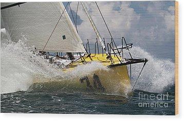 Sailboat Le Pingouin Open 60 Charging  Wood Print by Dustin K Ryan