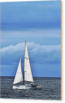 Sailboat No. 143-1 Wood Print by Sandy Taylor