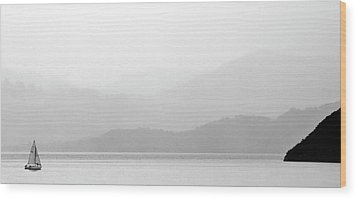 Sailboat On New Zealands Cook Strait Wood Print by Mark Duffy