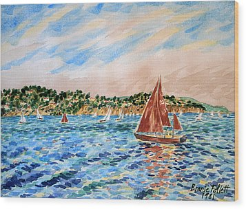 Sailboat On The Bay Wood Print