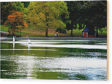 Sailboat Pond At Central Park Wood Print by Christopher Kirby