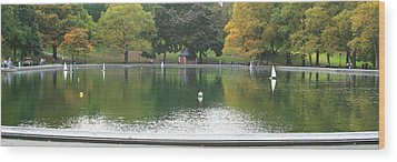Sailboat Pond Panorama Wood Print by Christopher Kirby
