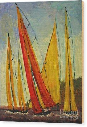 Sailboat Studies 2 Wood Print
