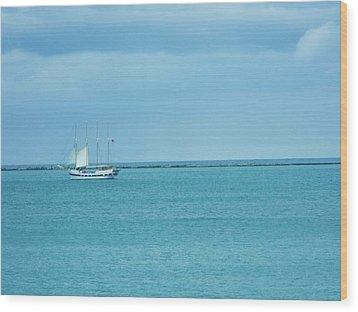 Sailboat Summer Wood Print by Anna Villarreal Garbis