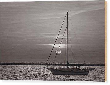 Sailboat Sunrise In B And W Wood Print by Steve Gadomski